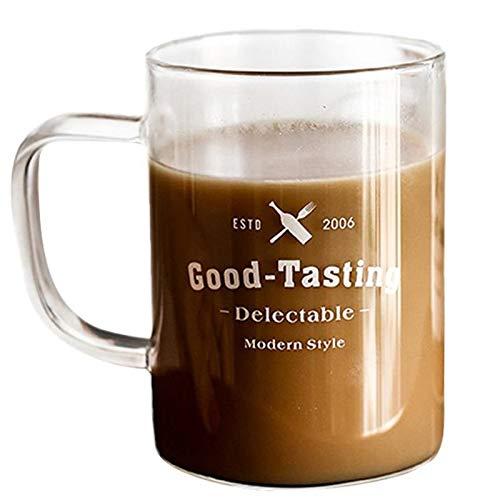 Taza de café para parejas, 400 ml, color blanco y negro, para jugo de leche, taza de vidrio para pareja, taza de cerveza de vidrio transparente, para el hogar, bar, bebedero para pareja (color blanco)