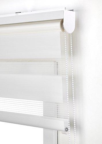 Estor Noche y día Enrollable a Medida Basic Tejido Color Blanco Roto. Medida 130cm x 180cm para Ventanas y Puertas