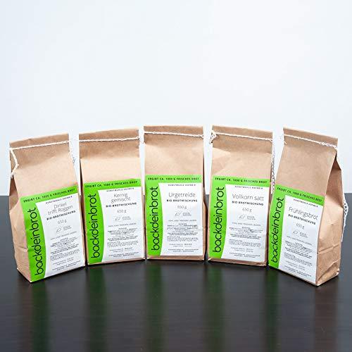 PREMIUM Bio-Brotbackmischungen 5er Set - aus Dinkel, Weizen und Roggen mit Sauerteig