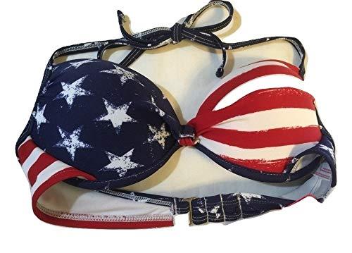 Xhilaration Women's American Flag 1 Piece Push up Bikini Top/Swim Top (Medium Size)