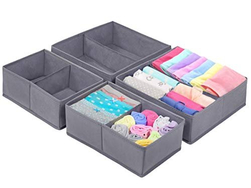 homyfort Clothes Drawer Organizer Dresser Dividers,Foldable Storage Bins Box Cubes for Underwears,Bras,Socks,Nursery/Kids Room,Cabinet Set of 4 Dark Grey