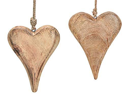 2x Deko Anhänger Herz Herzchen je 10x15 cm, Mango Holz Natur Zum Hängen, Holzdeko Fensterschmuck Türschmuck Holzschmuck Massiv