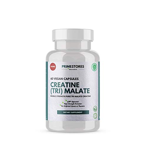 Creatine Tri Malate Powder Tablets 500mg - 60 Vegan Muscle Growth Capsules - High Strength Halal Vegetarian Approved Mass Gainer Product by Primestores