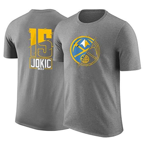 LSJ-ZZ Jersey Denver Nuggets Jokic Hombres de 15# NBA Manga Corta algodón Cuello Redondo Camiseta, Adolescente Flojo Retro Corto Deportes Jersey,C,XXL:180~185cm
