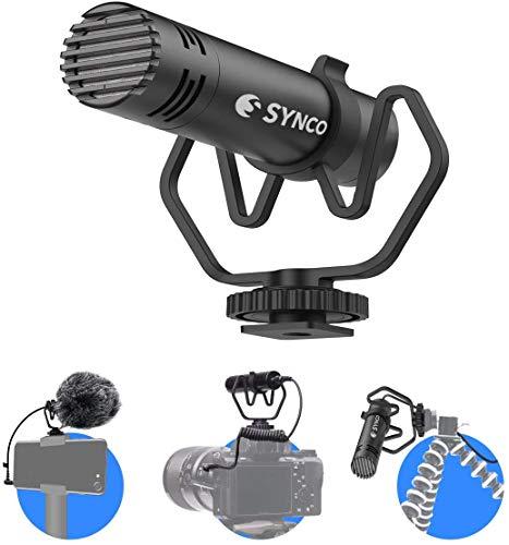 SYNCO M1 Micrófono-Cámara-Reflex-DSLR-Externo, Shotgun Micrófono Direccional para Camara y Móvil, Microfono DSLR Condensador Supercardioide Compatible para Cámara Canon, Sony, Nikon, Panasonic