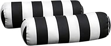 Resort Spa Home Decor Set of 2 Indoor/Outdoor Decorative Bolster/Neckroll Pillows - Black and White Stripe