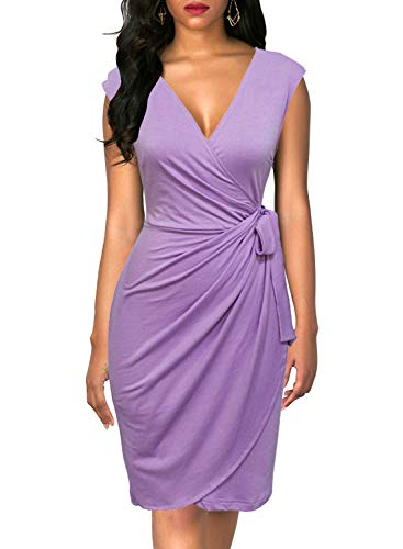 Berydress Women's Vintage V-Neck Sheath Casual Party Work Faux Black Wrap Dress (XL, 6028-Lavender)