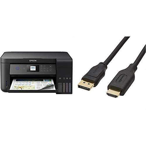 Epson EcoTank ET-2750 3-in-1 Tintenstrahl Multifunktionsgerät (DIN A4, WiFi, Display, USB 2.0), großer Tintentank, schwarz & Amazon Basics HL-007262 Verbindungskabel, DisplayPort auf HDMI,0,9m