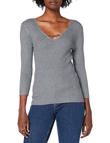 Morgan Pull Fin Col V Chaîne Malte Suéter, Gris Anthracite, TS para Mujer