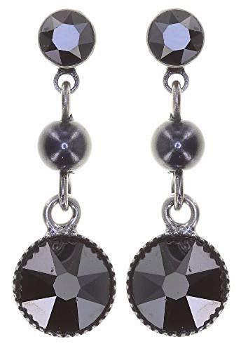 Konplott: pendelnde Ohrstecker Pearl Shadow black long, pendelnde Ohrstecker mit Perle und Kristallen in dunkelgrau/schwarz, für Damen/Frauen