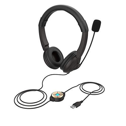 USB Headset mit Mikrofon Rauschunterdrückung Computer USB Kopfhörer Inline-Steuerung PC Headset für Skype SoftPhone Business Call Center Klarer Chat,Online-Unterricht,Superleichtgewicht,klarere Stimme