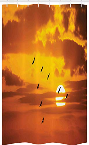 ABAKUHAUS vogelstand Douchegordijn, Vogels die bij zonsondergang, voor Douchecabine Stoffen Badkamer Decoratie Set met Ophangringen, 120 x 180 cm, Oranje
