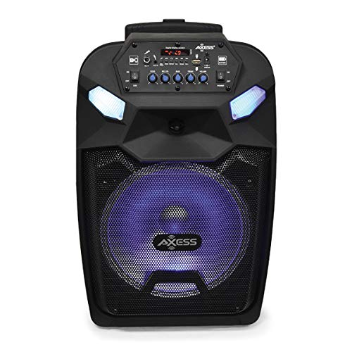 "Axess Portable PA Speaker System with Wired Microphone, 12"" Wireless Bluetooth Speaker with Rechargeable Battery and Party LED Lights, USB Port SD Card FM AUX 3.5mm Input PABT6015"