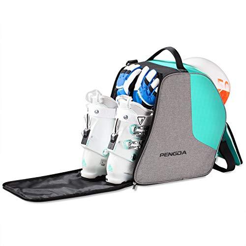 PENGDA Skischuhtasche Skistiefeltasche Extra große Umhängetasche mit Helmfach für Jacke, Helm, Schutzbrille, Handschuhe (Grün)