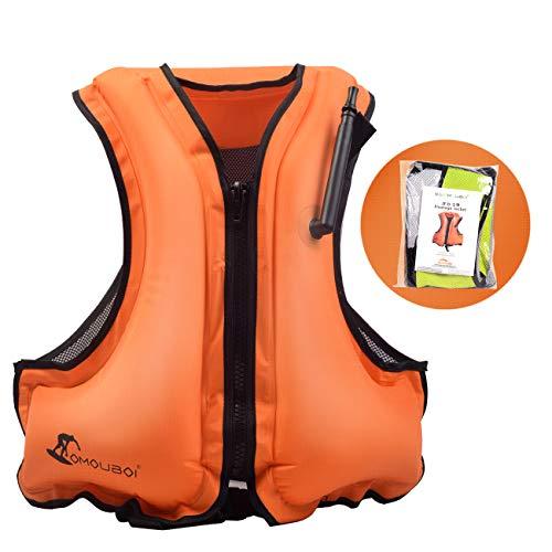 OMOUBOI Inflatable Snorkel Jacket Adult with Leg Straps for Men Women Snorkel Vest for Snorkeling Diving Swimming (Orange)