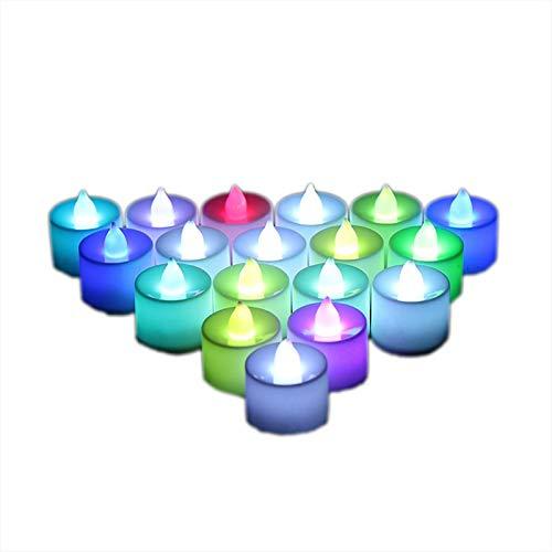 BLKJ Candele Senza Fiamma, luci da tè 24pack, Candele a LED realistiche, Candele Lampeggianti a Batteria elettrica sfarfallio Candele per la Decorazione stagionale e Festiva (Colore)