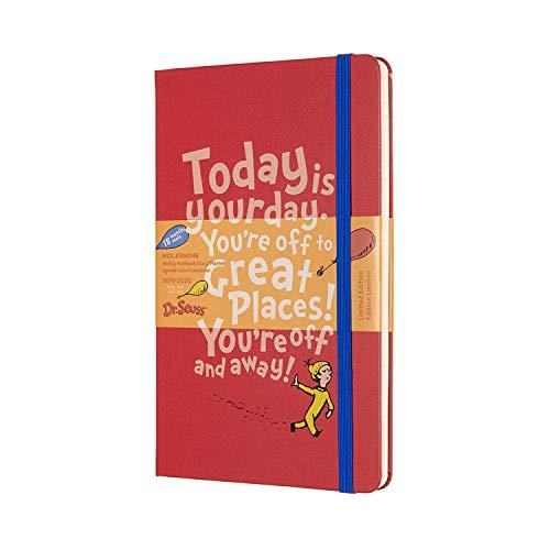 Moleskine Dr. Seuss Termin-/Akademischer Kalender 2019/2020 (18 Monate mit Wochenübersicht, mit Hard Cover und elastischem Verschluss, Großformat 13 x 21 cm, 208 Seiten) rot