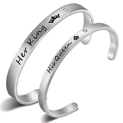 Ensianth His Queen Her King acciaio inossidabile coppia braccialetto anniversario regali