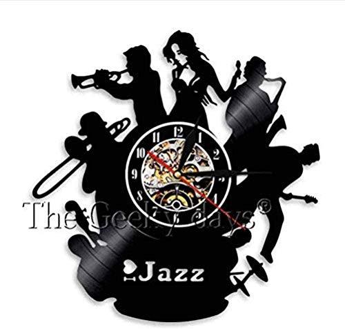 ZZLLL Wanduhr für Musiker, Jazzcello, Trompete, klassisches Musikinstrument, Wanduhr für Schallplatten, 12 Zoll für Jazzspieler, 7 Farben zur Auswahl