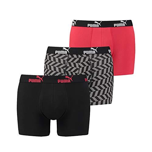 PUMA Herren Unterhosen 3er Pack Promo Boxer Shorts Arrow Print Black red, Größe:M