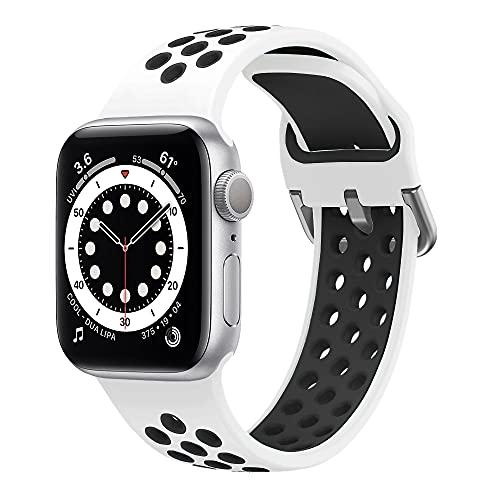 Hatolove iWatch Watch Correa, Compatible con Apple Watch 38mm 40mm 42mm 44mm Correas, Transpirable Correa de Silicona Suave Correa Deportiva Repuesto Compatible con iWatch Serie SE 6 5 4 3 2 1