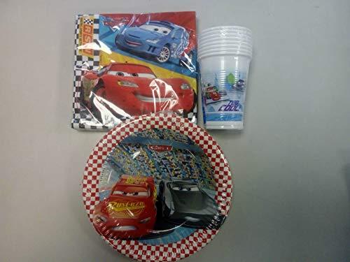 Lote de Cubiertos Infantiles Desechables 'Cars-Disney' (16 Vasos, 16 Platos(20 cm) y 20 Servilletas) .Vajillas y Complementos. Juguetes para Fiestas de Cumpleaños, Bodas, Bautizos y Comuniones.