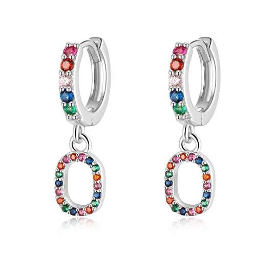 Qings Drop Dangle Earrings, O Initial 925 Sterling Silver Earring Colorful CZ Earrings Tiny Hoop Earrings Pendants Birthday Gifts for Women Teens Girls