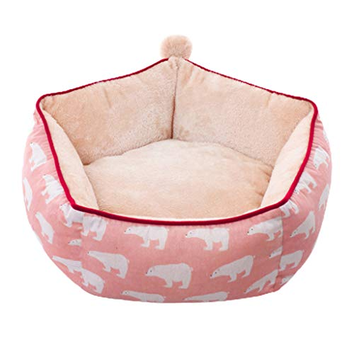 Judyd Creative Nido pentagonal de Felpa para Mascotas, cálida y Encantadora casa para Perros, Arena para Gatos, para Dormir, Rosa, 5 Lados, extraíble y Lavable, Nido para Mascotas, Rosa