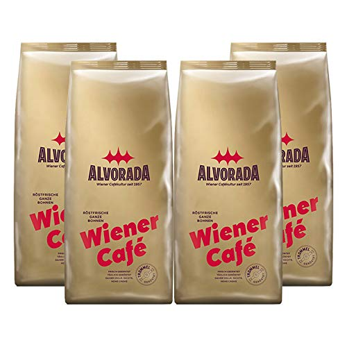 ALVORADA Wiener Café, Röstkaffee, ganze Bohnen, 1 kg, 4er Pack