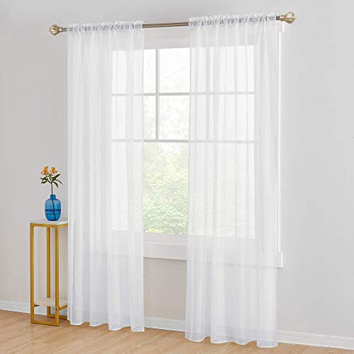 Saixi Extra Long White Sheer Voile Curtains 52x108 Inch Solid Basic Rod Pocket Sheer Curtains Room Decorative Panel Soft and Light Curtain for Living Room 52W x 108L Inch White 2 Panels