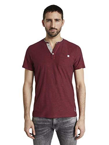 Tom Tailor Kurzarm Henley Camiseta , Rojo ( 16961/Franja Rojray Azul Marino ) ,  S para Hombre