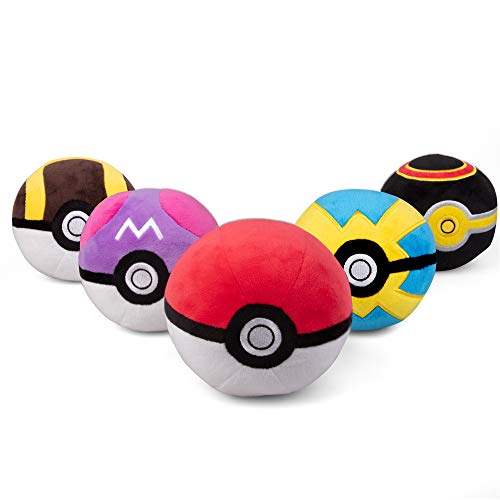 PoKéMoN Pokéball Plush 5-Pack - Includes Poke, Master, Ultra, Quick, Luxury Ball - Soft Stuffed Pokéballs with Weighted Bottom - 4' Each - Ages 2+