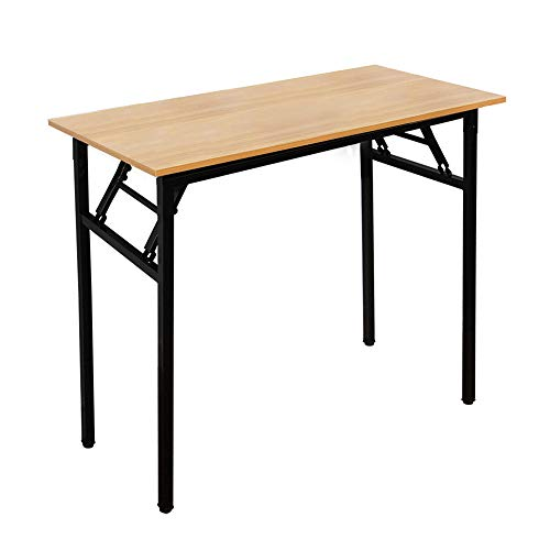 SogesHome Folding Computer Desk 80 x 40 cm Folding Desk Compact Table PC Desk Office Desk Corner Desk for Home Office Small Writing Table,Teak & Black, AC5BB-8040-SH