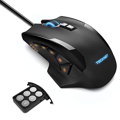 TECKNET Mouse da Gioco, HyperTrak 16400 DPI Laser Gaming Mouse, Cablato con Avago Sensore ADNS-9800, 10 Pulsanti Programmabili e Regolazione RGB, Cartuccia di Sintonia del Peso