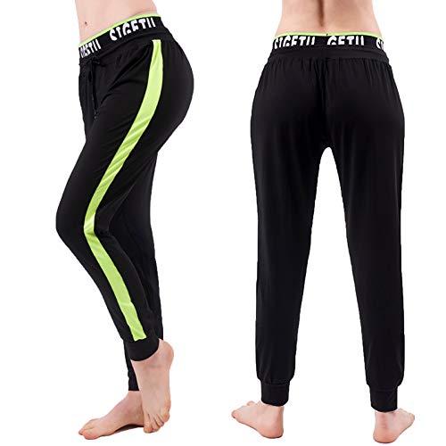 Pantalones Deportivos para Mujer Pantalon Chandal Largo De Secado Rápido De Elásticos Cintura Alta Sueltos Casual Yoga Pants con Bolsillos Y Cordón C,L