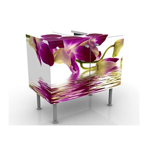 Apalis Waschbeckenunterschrank - Pink Orchid Waters - Blumen Badschrank Weiß, Größe: 55cm x 60cm
