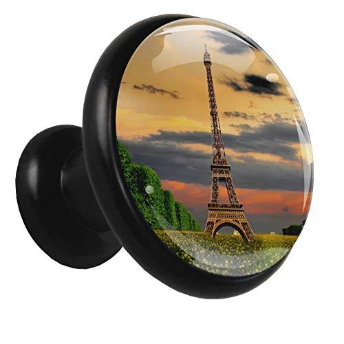 Torre Fantasy Sky Las perillas negras del gabinete tiran de las perillas redondas de metal de cristal para puertas de armario de cajones Clos (4 piezas) 32x30x17mm