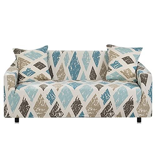 WXQY Funda de sofá elástica con Estampado Floral,Funda de sofá Antideslizante para la decoración del hogar,Sala de Estar,Funda de sofá de Esquina Completamente Envuelta A14 4 plazas