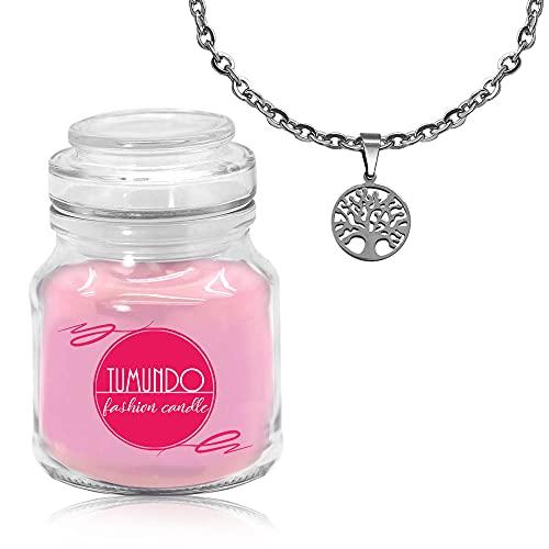 tumundo Schmuck-Kerze Duftkerze Rosa Halskette Mit Anhänger Ankerkette Silbern Damen Mädchen 30 Modelle Fashion Candle, Variante_:Variante 1