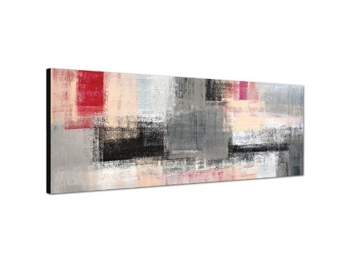 Augenblicke Wandbilder Keilrahmenbild Wandbild 150x50cm Kunstmalerei abstrakt grau rot gelb weiß