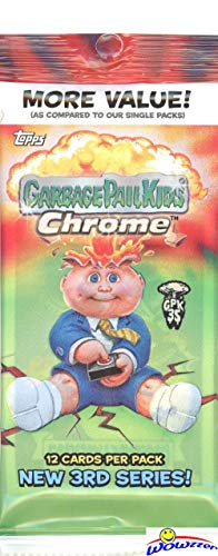 2020 Topps Garbage Pail Kids CHROME Series 3 HUGE JUMBO FAT Pack with 12 Cards including REFRACTOR! Look for EXCLUSIVE Parallels, Artist Autos, Printing Plates, C-Name Variations & More! WOWZZER!