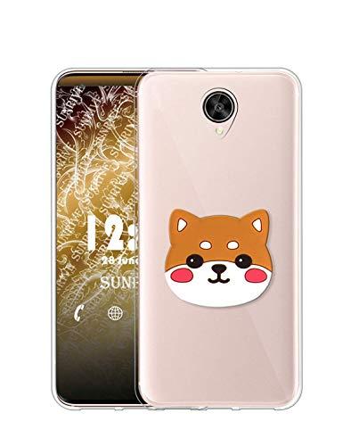 Sunrive Kompatibel mit Meizu Pro 6 Plus Hülle Silikon, Ständer Fingerhalter Fingerhalterung Handyhülle Transparent Schutzhülle Etui Hülle (Welpe) MEHRWEG