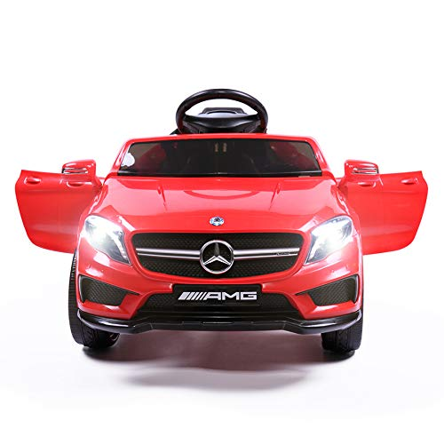 TOBBI Licensed Mercedes Benz Car for Kids,Ride on Cars with 2.4G Remote Control,Double Doors, 5 Point Safety Belt,LED Lights,Red