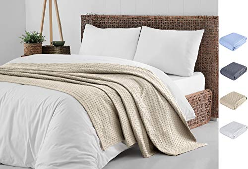 Cotton Blanket King Khaki |%100 Turkish Premium Soft Breathable Cotton | Thermal King Size Blanket | Perfect for Layering Any Bed for Summer - Winter | Cotton Blankets King Size - Bed Throw