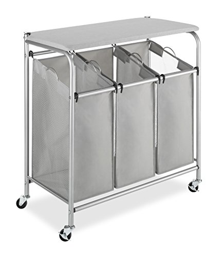 Whitmor Round Commercial Removable Liner and Heavy Duty Wheels-Chrome Laundry Hamper