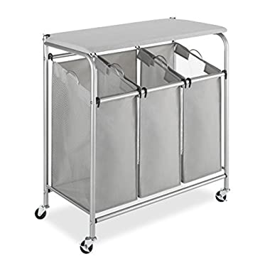Whitmor 3 Section Rolling Laundry Sorter with Folding Station - Ironing Board
