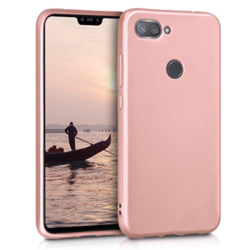 kwmobile Funda Compatible con Xiaomi Mi 8 Lite - Carcasa móvil de Silicona - Protector Trasero en Oro Rosa Metalizado