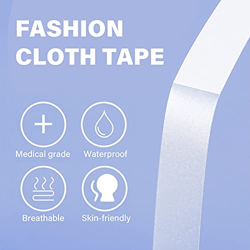 100 Counts Cloth Tape Double Sided Tape Sticky Clothing Tape Adhesive Women Fashion Clothing and Body Tape for All Skin Shades and Fabric, 2 Size Available