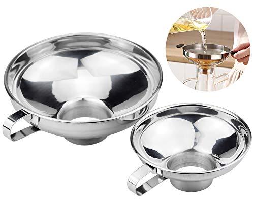 KARAA 2 Pack Marmeladentrichter Edelstahl Einfülltrichter mit Griff Groß und Klein Küchentrichter Set Einfüllhilfe für Gläser Flüssigkeit Öl Marmelade
