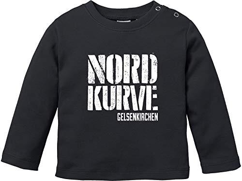 EZYshirt® Nordkurve auf Schalke Baby T-Shirt Langarm Bio Baumwolle